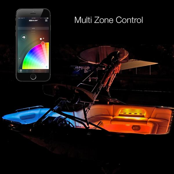 XK XK074004-CHROME LED Million Color Boat Accent Kit with Wireless Phone App Controller