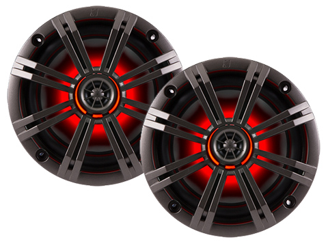 Kicker KM654LCW Kicker 6.5 in. Coaxial In-Boat Speakers with LED (RGB)
